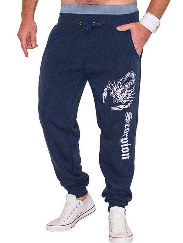 Scorpion and Letters Print Lace-Up Beam Feet Men's Jooger Pants - CADETBLUE L