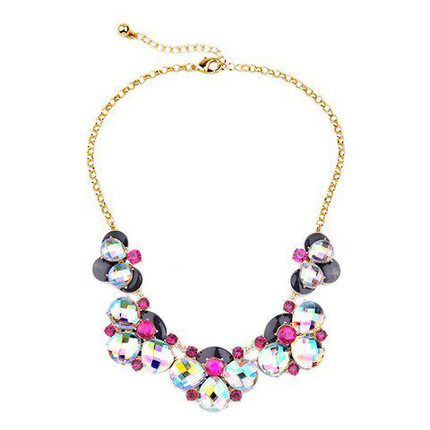 Floral Artificial Crystal Necklace - GOLDEN