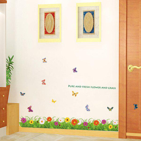 Hot Sale Colorful Butterfly and Flowers Removeable Wall Stickers - COLORMIX