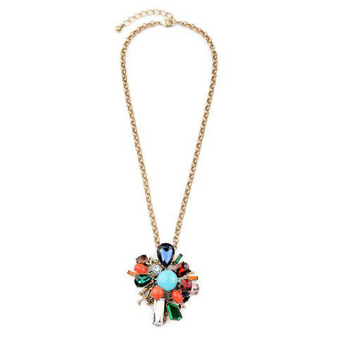 Floral Artificial Crystal Water Drop Necklace - GOLDEN