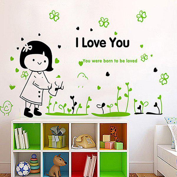 Sweet DIY Watering the Flowers Little Girl Pattern Wall Stickers For Children