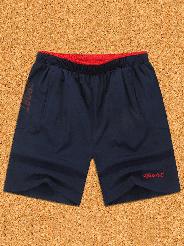 Men's Casual Color Block Sports Shorts - RED M