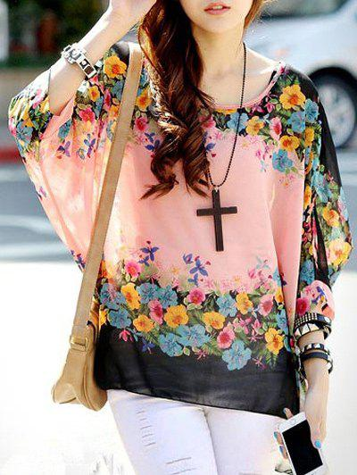 Sweet Women's Round Collar Floral Print Batwing Sleeve Tee - PINK ONE SIZE(FIT SIZE XS TO M)