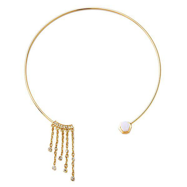 Rhinestone Alloy Cuff Necklace - GOLDEN