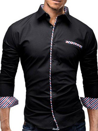 Turn-Down Collar Colorful Checked Splicing Design Long Sleeve Men's Shirt - BLACK L