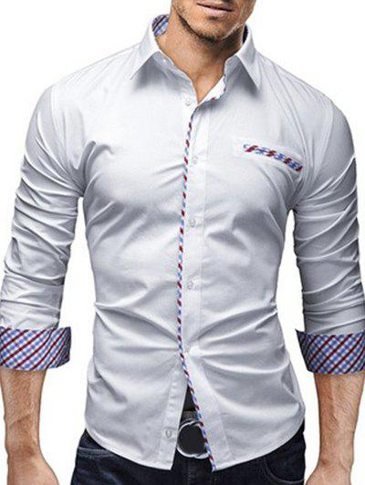 Turn-Down Collar Colorful Checked Splicing Design Long Sleeve Men's Shirt - M WHITE