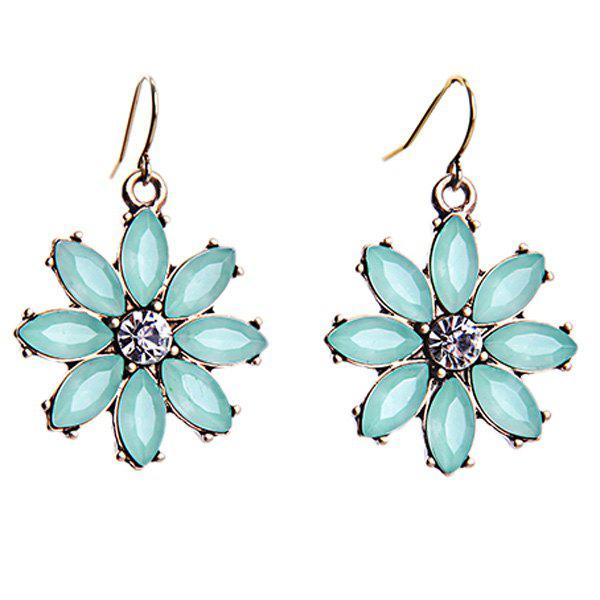 Pair of Chic Style Rhinestone Floral Earrings Jewelry For Women