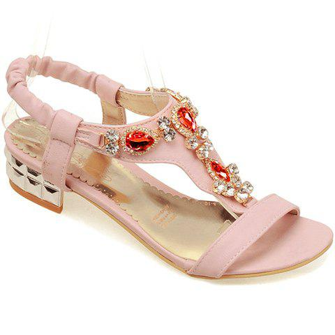 Fashionable Elastic Band and Artificial Stones Design Women's Sandals - PINK 36