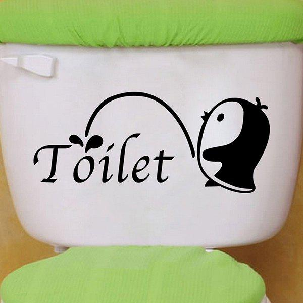 Stylish Penguin Pattern Toilet Sticker For Bathroom Restroom Decoration - BLACK