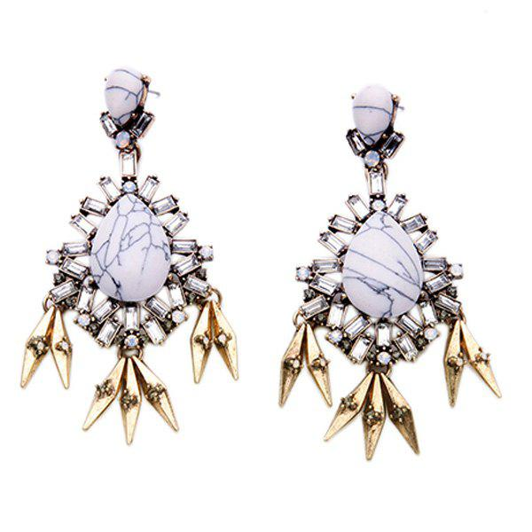 Pair of Rivet Faux Gem Water Drop Earrings - WHITE