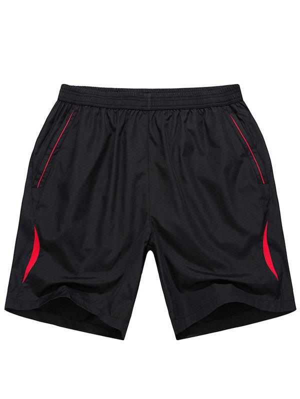 Men's Casual Color Block Line Sports Shorts - RED XL