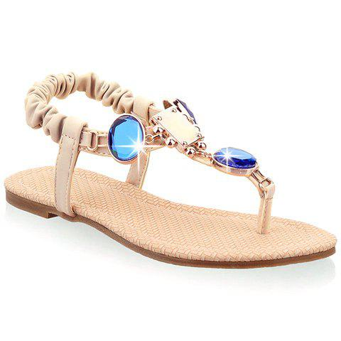 Stylish Artificial Stones and Flat Heel Design Women's Sandals - OFF WHITE 39