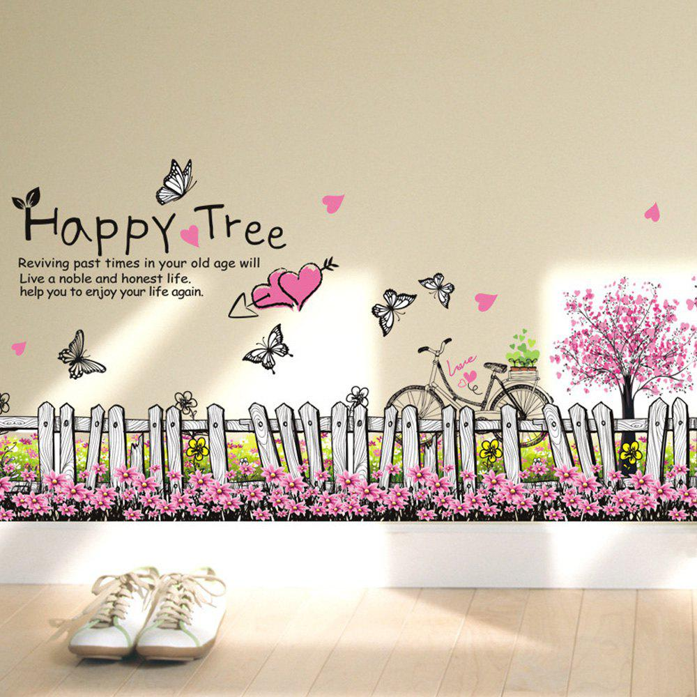 High Quality Pink Trees and Flowers Wall Stickers For Home Decor Skirting