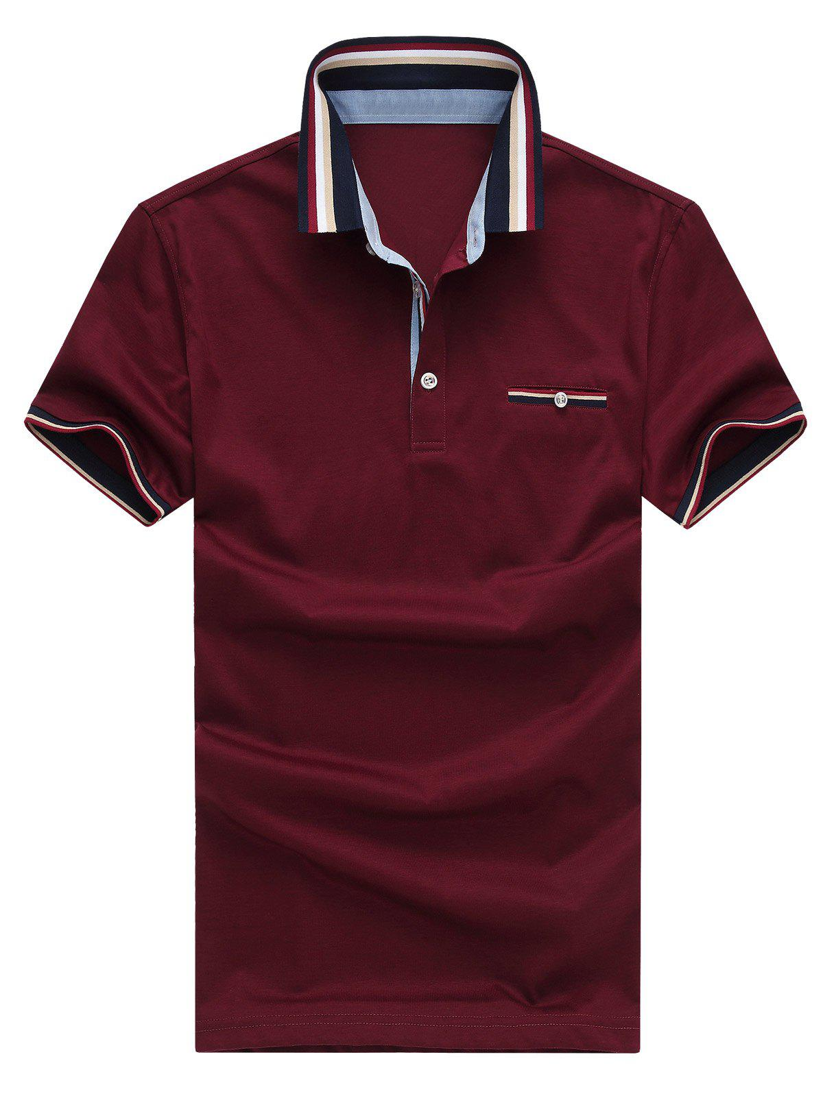 Turn-Down Collar Color Block Short Sleeve Plus Size Polo T ...