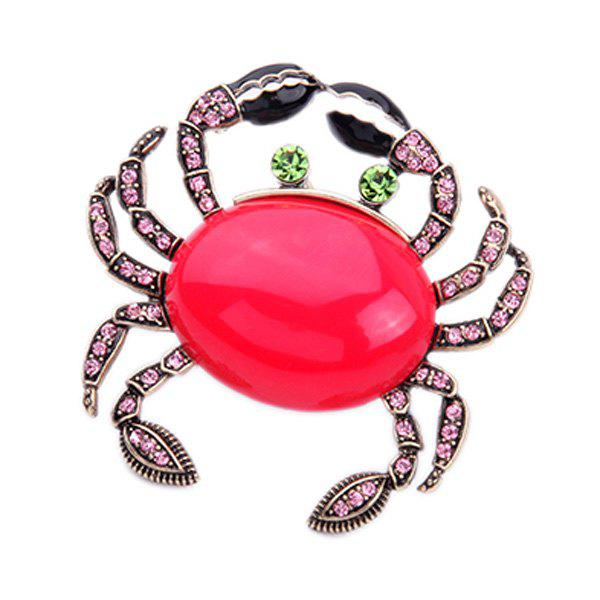 Rhinestone Crab Shape Brooch - RED