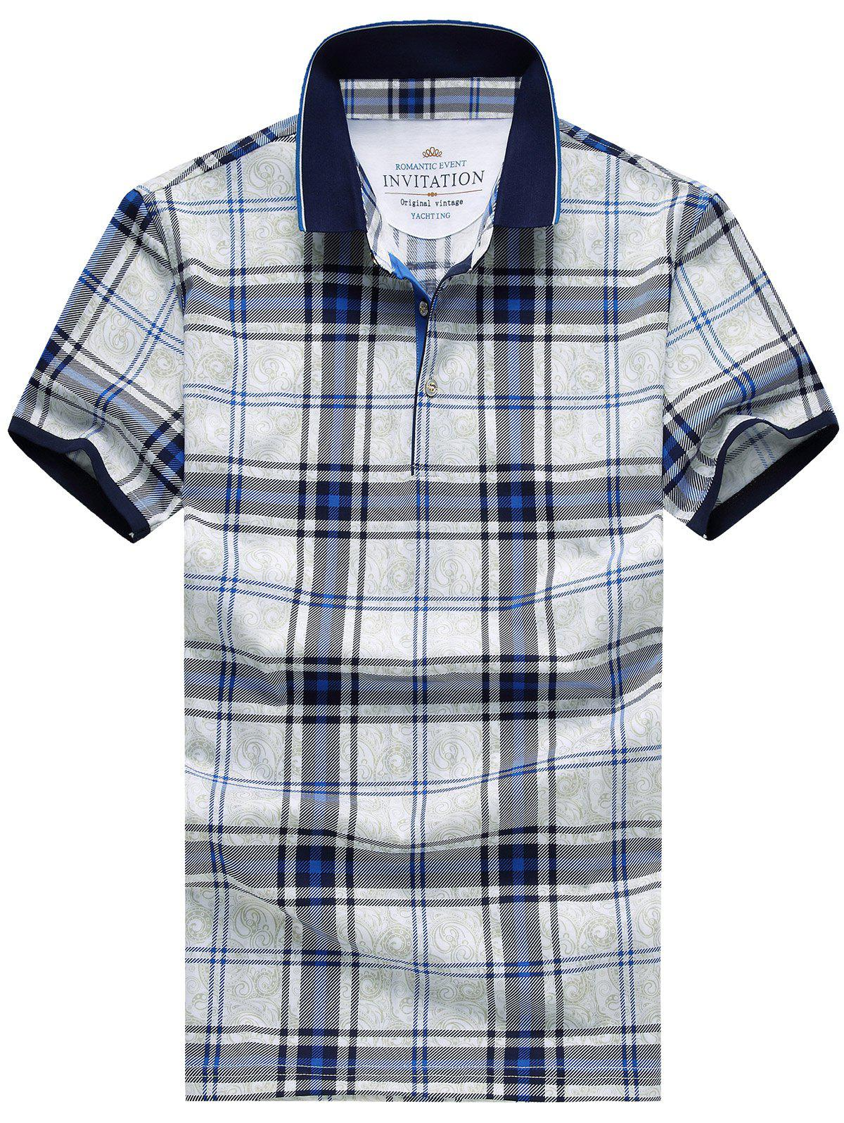 Casual Plus Size Turn-Down Collar Checked Print Short Sleeve Men's Polo T-Shirt - BLUE M