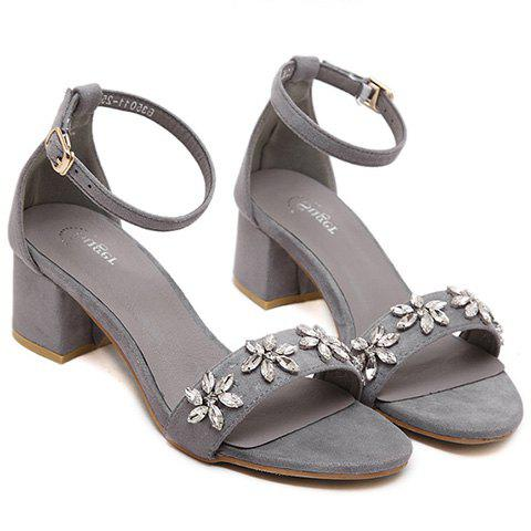 Trendy Rhinestones and Ankle Strap Design Womens SandalsShoes<br><br><br>Size: 35<br>Color: GRAY