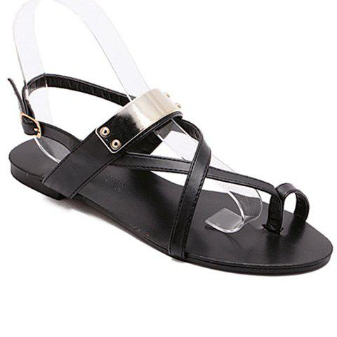 Casual Metal and Black Colour Design Women's Sandals - BLACK 37