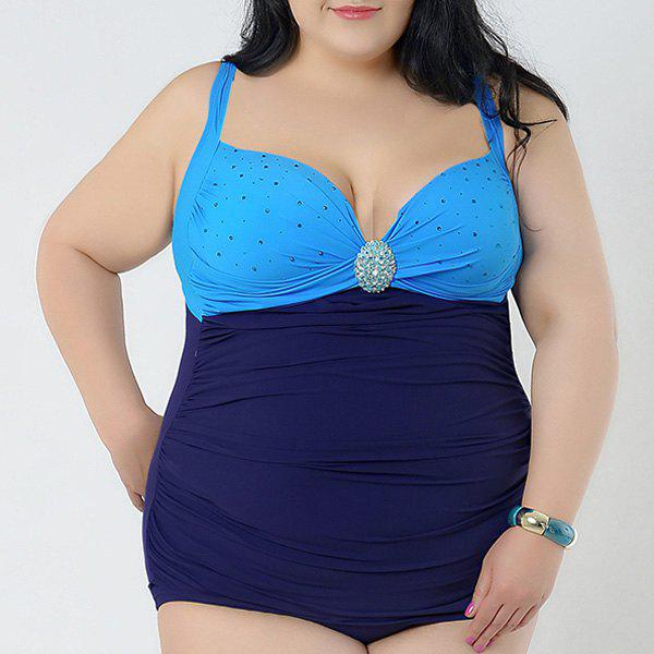 Brief Women's Spaghetti Strap Rhinestone Embellished Swimsuit - BLUE 2XL