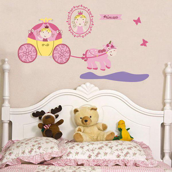 Chic Quality DIY Cartoon Princess Carriage Pattern Wall Stickers For Children