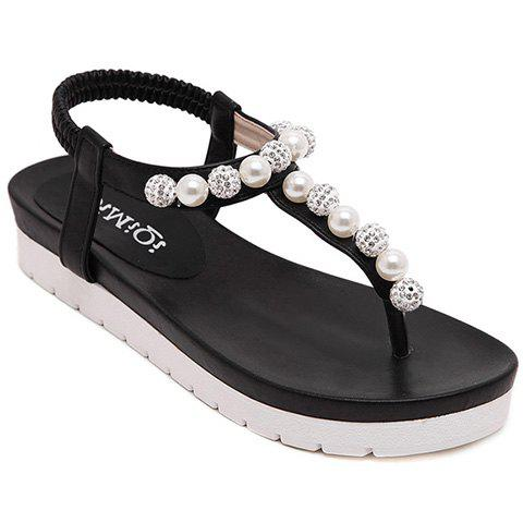 Casual Solid Colour and Faux Pearls Design Women's Sandals - BLACK 39