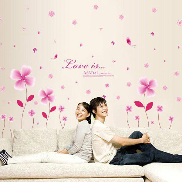 Elegant DIY Pink Flowers Pattern Wall Stickers For Children - PINK