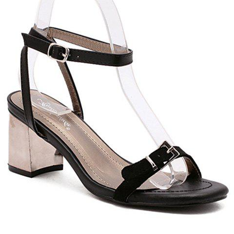 Fashionable Black Colour and Double Buckle Design Women's Sandals