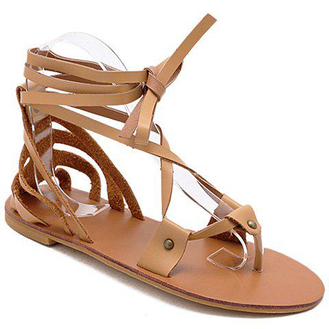 Leisure Cross Straps and PU Leather Design Women's Sandals - BROWN 36
