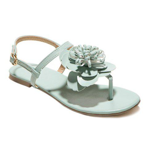 Casual Flat Heel and Flower Design Womens SandalsShoes<br><br><br>Size: 38<br>Color: LIGHT GREEN