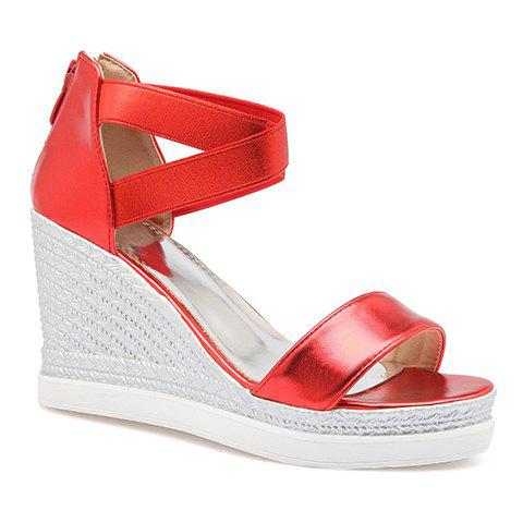 Stylish Zipper and Cross Straps Design Women's Sandals - RED 38