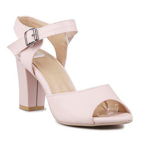 Trendy Peep Toe and Chunky Heel Design Women's Sandals - PINK 35