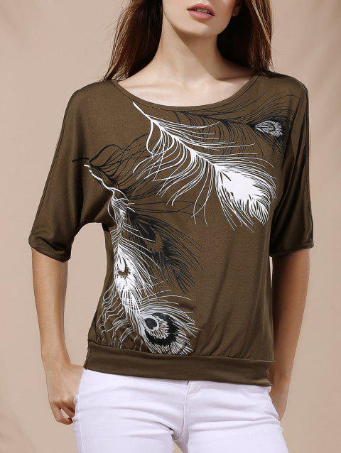 Stylish Scoop Neck Printed Short Sleeves Cold Shoulder T-Shirt For Women - ARMY GREEN 2XL