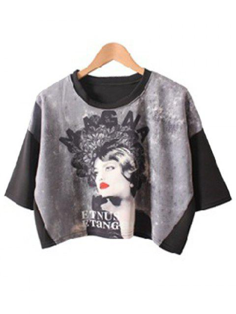 Stylish Girl Print Bat Sleeve Crop Top For Women - BLACK ONE SIZE(FIT SIZE XS TO M)