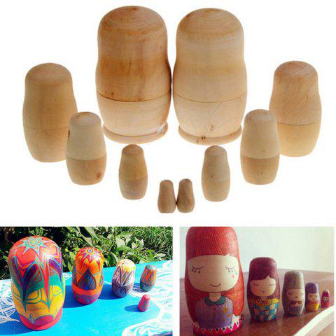 5PCS Chic DIY Hand Paint Wooden Blank The Russian Dolls Handiwork Unpainted Matryoshka Toy - EARTHY