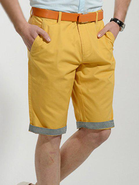 Casual Slimming Straight Leg Solid Color Men's Zipper Fly Shorts - YELLOW 31