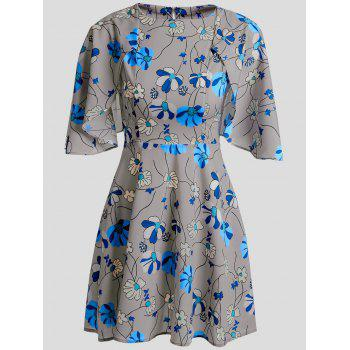 Cute Women's Jewel Neck Short Sleeves Floral Print Cape Dress