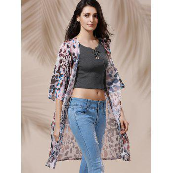 Chic 3/4 Sleeve Collarless Loose-Fitting Leopard Print Women's Kimono - COLORMIX XL