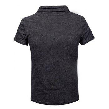 Fashion Heaps Collar Single-Breasted Solid Color Men's Short Sleeves T-Shirt - DEEP GRAY M