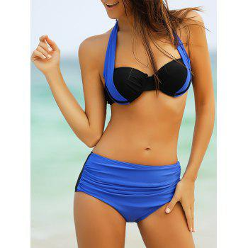 Hot Color Splicing High Waist Bikini Set For Women