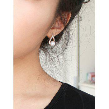 Pair of Faux Pearl Rhinestoned Earrings
