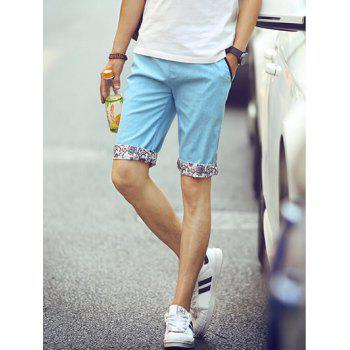Buy Casual Straight Leg Floral Crimping Men's Lace-Up Shorts LIGHT BLUE