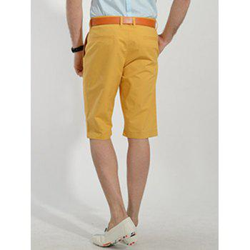 Casual Slimming Straight Leg Solid Color Men's Zipper Fly Shorts - YELLOW 29
