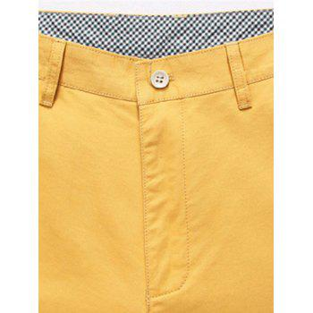 s 'Zipper Fly Shorts Casual Straight Leg Minceur Solid Color Men - Jaune 31