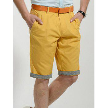 Casual Slimming Straight Leg Solid Color Men's Zipper Fly Shorts