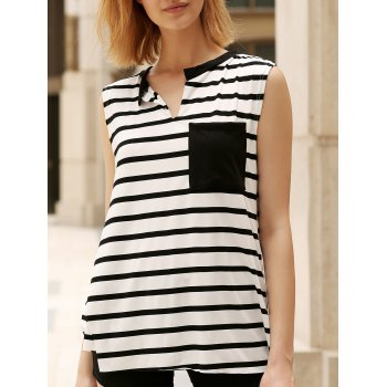 Trendy V Neck Asymmetrical High Cut Tank Top For Women