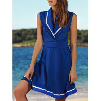 Elegant Turn-Down Collar Color Block Sleeveless Women's Dress