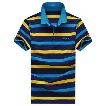 Men's Turn-Down Collar Plus Size Color Block Striped Print Short Sleeve Polo T-Shirt - BLUE BLUE