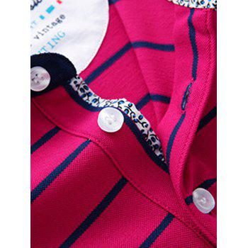 Men's Turn-Down Collar Color Block Srtiped Print Short Sleeve Plus Size Polo T-Shirt - ROSE ROSE