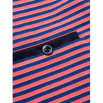 Men's Plus Size Turn-Down Collar Color Block Striped Short Sleeve Polo T-Shirt - 2XL 2XL