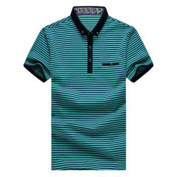 Men's Plus Size Turn-Down Collar Color Block Striped Short Sleeve Polo T-Shirt - GREEN 2XL
